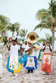A traditional parade at Anne & John's wedding in the Bahamas. Photo: KT Merry.