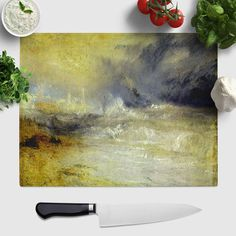Merveilleux 1 X Glass Chopping Board J.M.W. Turner Waves Breaking Against The Lee Shore