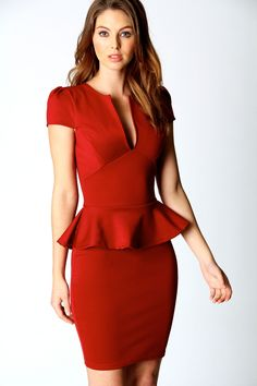 Lorna Slit Front Peplum Dress at boohoo.com