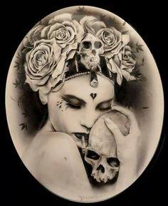 Portrait with skull Dark Fantasy Art, Dark Art, Caricatures, Illustrations, Illustration Art, Chicano Art, Portraits, Flash Art, Chest Tattoo