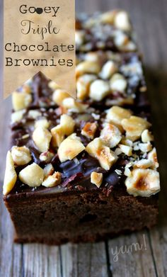 Chocolate Brownies Recipe - She Eats.ca I like chocolate. A lot. Not quite as much as I like apples and cinnamon, but pretty darn close. Especially if it comes in cake form.  Mmmmmm…. cake form….  Rich. Decadent. Triple chocolate. Cake. I'm not even kidding – you want chocolate? This is the recipe for you. Life just doesn't get any more chocolate than this.  Get it here ---> http://sheeats.ca/2014/02/gooey-triple-chocolate-brownies/