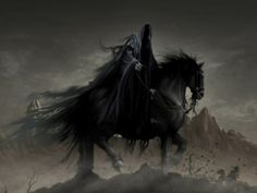 Another look at the possibility of the Grim Reaper being one of the four horsemen of the Apocalypse. From what I could tell it was one of the largest arguments of who the Grim Reaper is. Dark Fantasy Art, Dark Art, Death Reaper, Grim Reaper Art, Dark Creatures, Horsemen Of The Apocalypse, Horse Illustration, Arte Obscura, Angels And Demons