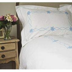 Embroidered Hem Stitch Bed Linen in Blue - Blue and white - French Bed Linen Linen Bedroom, Linen Bedding, Bed Linens, Master Bedroom, French Bed, Cheap Bed Sheets, Luxury Bedding Collections, Buy Bed, Home