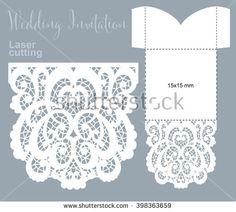 Vector die laser cut envelope template. Invitation envelope. Wedding lace invitation mockup. 15x15 cm