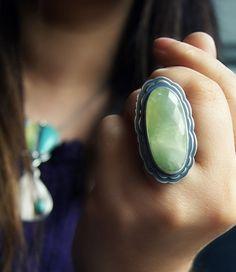 Into Transcendence - Prehnite Sterling Silver Ring