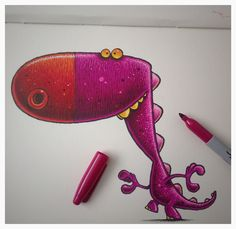 Purple dinosaur chap in my sketchbook.