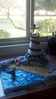 Lighthouse  Lighthouse This was a cake I did for a friends birthday on superbowl weekend  #featured-cakes #leannew #cakecentral