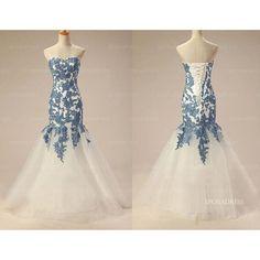 blue lace prom dress, long prom dresses, affordable prom dress, mermaid prom dress, popular prom dresses, elegant prom dress, homecoming dresses
