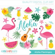 ALOHA FLAMINGO Vector Clipart: flamingos, tropical plants, ice-cream, pineapple cocktail, watermelon slices, pina colada, summer vacation, florida, hibiscus flowers, starfish, hawaii, luau flowers, spanish guitar --------------------------------------------------------------------------------------- ► Similar Items Available Here: http://etsy.me/1sjhhlT --------------------------------------------------------------------------------------- SPEND $25 - GET 15% OFF - COUPON: SAVE...