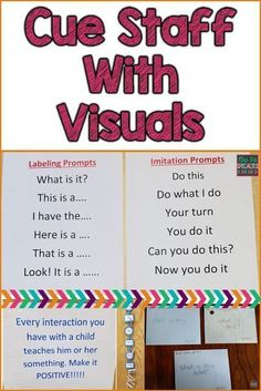Visuals arent just for students! Staff need visual cues, too. Here are 3 different ideas for using visuals for classroom and therapy staff. These ideas are ideal for special education programs especially those designed for students with autism. Life Skills Classroom, Autism Classroom, Classroom Ideas, Future Classroom, Apple Classroom, Classroom Signs, Autism Resources, Teacher Resources, Resource Teacher