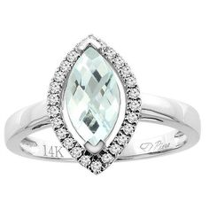 14k Gold Natural Aquamarine Halo Ring Marquise Cut by WorldJewels