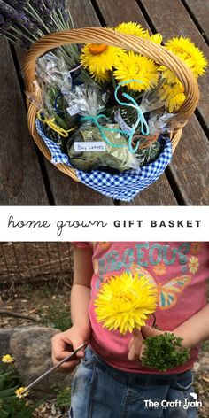 Create a gift basket of home grown herbs and flowers from your garden