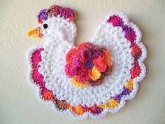 Crochet Chicken Rooster Potholder Pot holder Hot Pad White Rainbow New