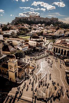 A panoramic view of the Acropolis and Monastiraki plazain - Athens, Greece