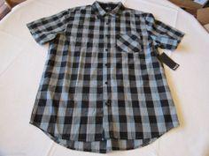 Men's Hurley shirt button up XL Barlow surf skate NEW plaid BLK black MVS0000860