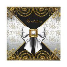 Elegant Birthday Party White Black Gold Damask Custom Invitations by Zizzago.com