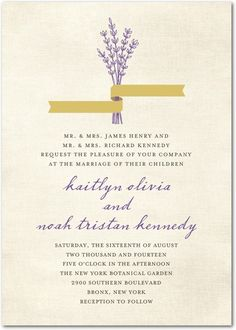 Lavender & Gold Theme Invitation from rusticweddingchic.com