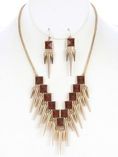 SIZE 18 INCH LONG COLOR Purple, Green, Cream, Brown, Blue DESCRIPTION NECKLACE AND EARRING SET METAL SPIKE FRINGE LUCITE STONE BIB LINK BOX CHAIN FISH HOOK 18 INCH LONG 2 2/3 INCH DROP NICKEL AND LEAD COMPLIANT