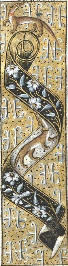 L'hermine et le monogramme d'Anne de Bretagne (enluminure, f°24r) -- «Petites Heures de la reine Anne de Bretagne», A l'usage de Rouen, vers 1499-1514. [BN Ms NAL 3027 - ark:/12148/btv1b84328965]