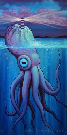 Murky Depths VI original acrylic painting on canvas by by edenbee