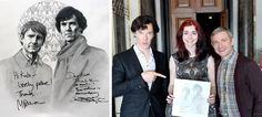 Kate Powell's autographed drawing of Martin Freeman and Benedict Cumberbatch from the TV series Sherlock.