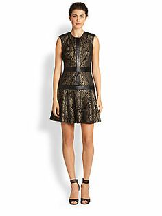Nicole Miller Sleeveless Leather-Trim Brocade Dress