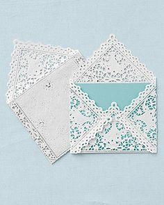 Doily envelope for wedding invitations.