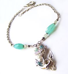 Big Anchor Nautical Necklace Turquoise Chalcedony Aquamarine Beads Silver Chain
