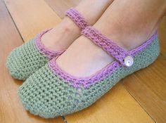 Crocheted Mary Jane slippers by thelittlehousebythesea, via Flickr