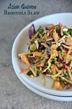Asian Quinoa Broccoli Slaw, www.mountainmamacooks.com #glutenfree #vegan #broccolislaw