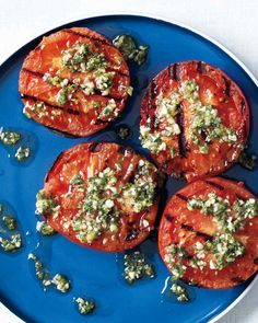 Grilled Tomatoes with Oregano and Lemon...add leftover salmon or tuna for snack or meal...over spinach salad would be good too.