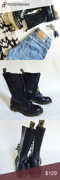 """Dr. Martens 14 Eye Boots Dr. Martens 14 Eye Black Boots in classic leather featuring mid-calf height.  Iconic wardrobe staple!  NWOT, never worn!  Original box not included.  Shaft height: approx. 11"""" Dr. Martens Shoes"""