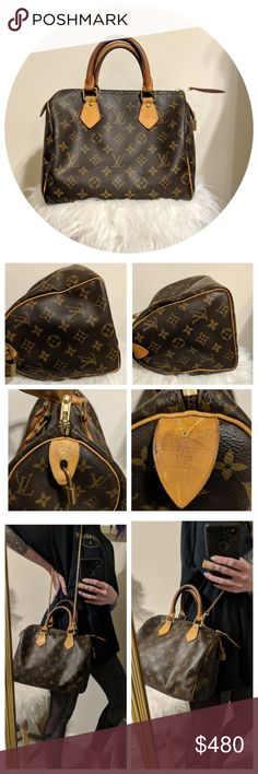 🔵PRICE DROP🔵Authentic Louis Vuitton Speedy ⭐100% AUTHENTIC Louis Vuitton Speedy 25 ⭐Only imperfections from previous owner: pen mark (as shown in photos), Tiny tear on BOTTOM of bag (it was hard to find in person when I got it), and peeling pocket, NOT sticky! ⭐Strap can be included if you want it, can be worn as a crossbody or shoulder bag(just a random gold purse strap)  💕💕Price is firm BUT I will consider reasonable and respectful offers💕💕 Louis Vuitton Bags