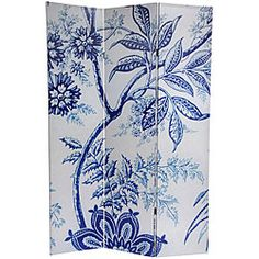 @Overstock - This classy room divider features a formal European floral pattern of a Wedgewood tree blossom, leaf and branch in blue and white. Room dividers are great for providing privacy, as a portable room partition or even a decorative focal point.  http://www.overstock.com/Worldstock-Fair-Trade/Canvas-Double-sided-6-foot-Blue-Floral-Room-Divider-China/5079587/product.html?CID=214117 $112.99