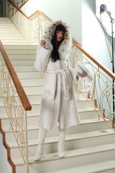 White Mink & Lynx Fur Hooded Coat