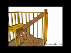 How to Build and Frame Stairs Landings - U-Shaped Stairs - YouTube