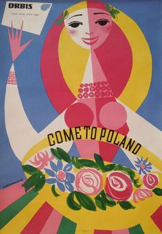 A wonderful Polish woman dressed in a colorful dress bids you welcome to Poland 1956!  This charming travel poster from Poland is an