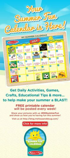 We're halfway through July, and interactive summer fun calendar is in full swing! This week, we've added six new summertime activities to help keep your kids occupied – and learning – all summer long