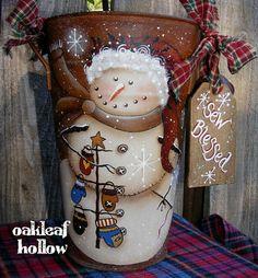 Primitive Snowman Handpainted Bucket