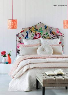 Upholstered floral Fabric headboard in a Romantic Style.headboard as art Cama Floral, Home Bedroom, Bedroom Decor, Bedroom Lighting, Bedroom Ideas, Master Bedroom, Fancy Bed, Headboards For Beds, Fabric Headboards