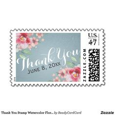 Thank You Stamp Watercolor Floral Tiffany Blue Make All, How To Make, Wedding Postage Stamps, Tiffany Blue, Floral Watercolor, Create Your Own, Bridal Shower, Best Gifts, Purple