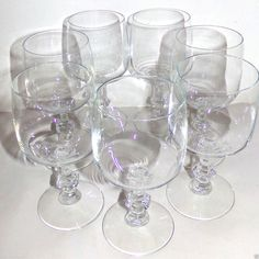 Wine Water Glasses Goblets Set of 7 Clear Glass 10 oz. ea #Unmarked