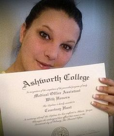 My name is Courtney Hunt and I recently graduated from Ashworth College with honors from the Medical Office Assistant program! I had bumps and I felt I couldn't continue but I am so glad I never gave up! #ashworthcollege #ashworthreviews