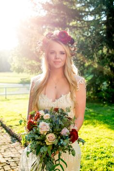 Southern boho bride wearing a Kristene Claire Pettibone dress with a flower crown and bouquet from Lumberyard Gardens. Southern plantation venue at Antrim Celebrations in Columbia, TN. Photo by Twila's Photography