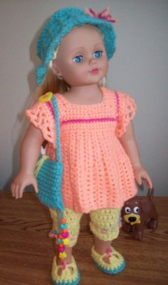 "Free 18"" doll crochet pattern for a summer outfit, including a hat, Capri pants, shoes, top and purse. Crochetville.com"
