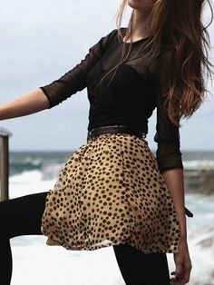 leopard skirt and black tights