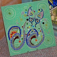 Retro-design Psychedelic Butterfly Glass Tile Mosaic
