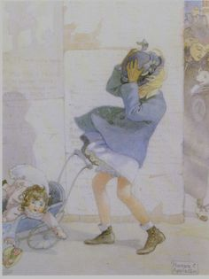 """Illustration by Honor Charlotte Appleton (1879 - 1951) from the book """"Josephine and her dolls"""" by H.C. Cradock (1915)"""