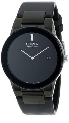 "Citizen Men's AU1065-07E  Eco-Drive ""Axiom"" Black Leather Strap Watch"