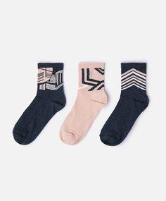 Pack of 3 pairs of geometric print socks - OYSHO